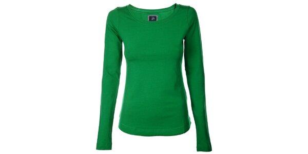 Dámske trávovo zelené bavlnené tričko Pietro Filipi s dlhým rukávom