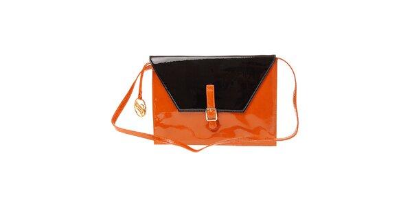 Dámska oranžovo-čierna lakovaná kabelka Pietro Filipi