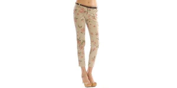 Dámske béžové kvetované nohavice Silvana Cirri