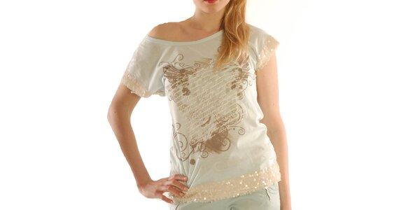 Dámske svetlé tričko s flitrami Silvana Cirri