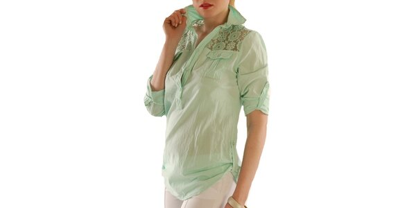 Dámska zelená blúzka s čipkou Silvana Cirri