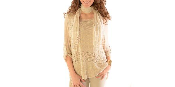 Dámsky béžový sveter s topom a šatkou Silvana Cirri