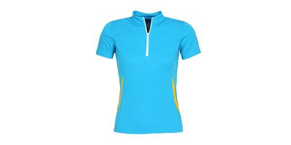 Dámske modré cyklistické tričko so zipsom a roláčikom Bergson