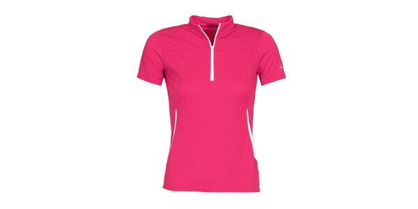 Dámske ružové cyklistické tričko so zipsom a roláčikom Bergson