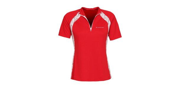 Dámske červené cyklistické tričko so zipsom Bergson