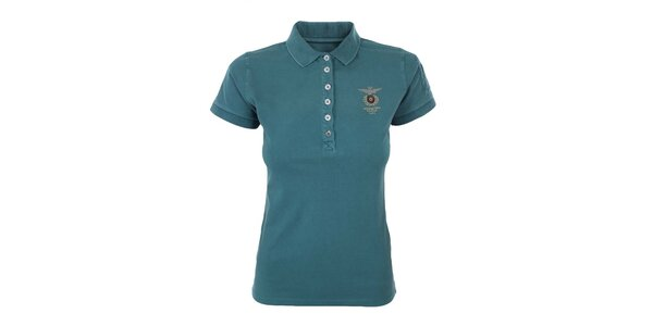 Dámske tyrkysové polo tričko s výšivkou Aeronautica Militare