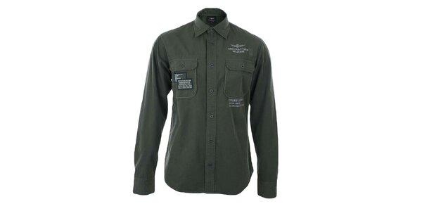 Pánska šedá košeľa s výšivkami Aeronautica Militare