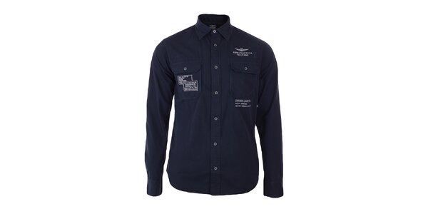 Pánska indigová košeľa s výšivkami Aeronautica Militare