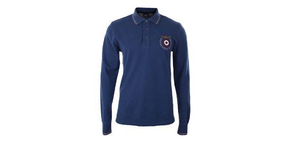 Pánske modré polo tričko s dlhým rukávom Aeronautica Militare