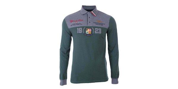 Pánske zeleno-šedé polo tričko s dlhým rukávom Aeronautica Militare