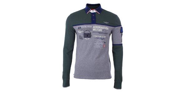 Pánske šedo-zelené polo tričko s dlhým rukávom Aeronautica Militare
