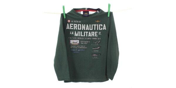 Detské tmavo zelené tričko s dlhým rukávom Aeronautica Militare