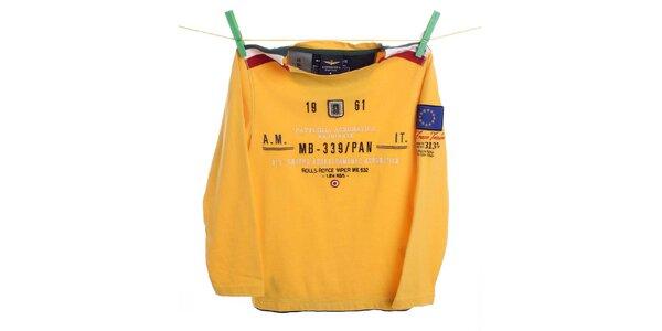 Detské žlté tričko s nápisom Aeronautica Militare