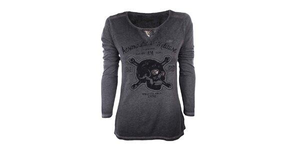 Dámske tmavo šedé tričko s dlhým rukávom a lebkou Aeronautica Militare