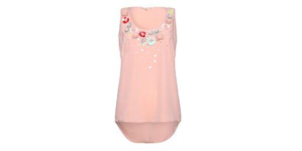 Dámsky svetlo ružový top Uttam Boutique s kvetinkami