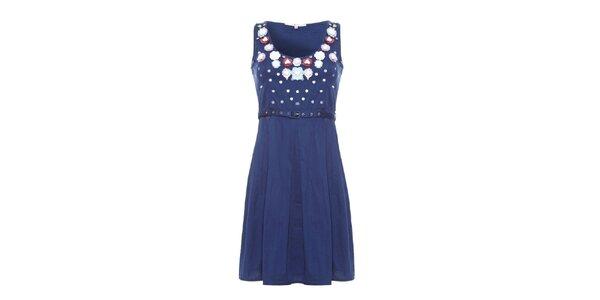 Dámske modré šaty Uttam Boutique s kvetinkami
