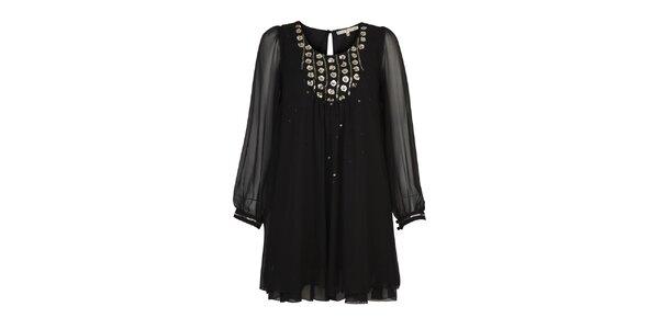 Dámska čierna tunika s flitrami Uttam Boutique