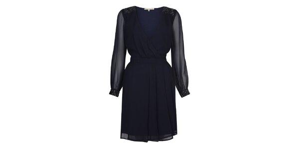Dámske temno modré večerné šaty s flitrami Uttam Boutique