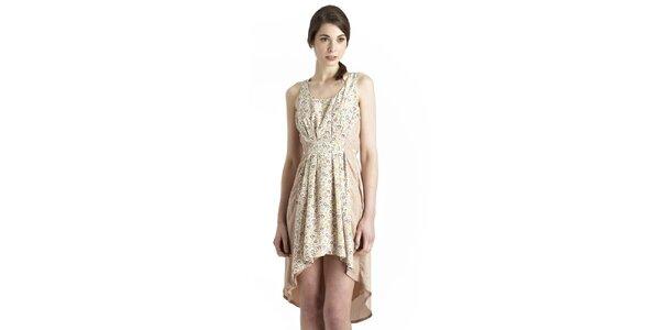Dámske krémové šaty s kvetinovým potiskom Uttam Boutique