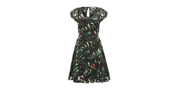 Dámske čierne šaty so zelenými listami Uttam Boutique