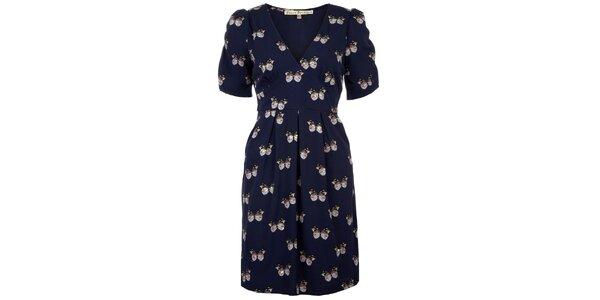 Dámske modré šaty s motýlikmi Uttam Boutique