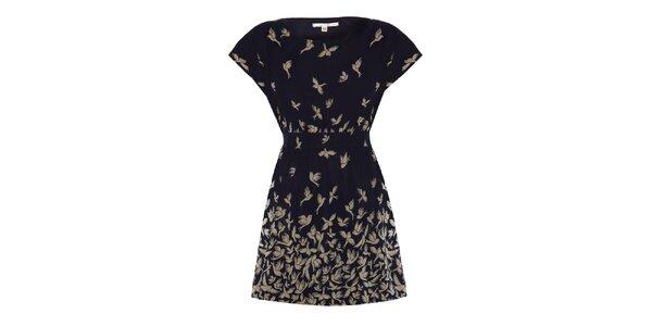 Dámske tmavomodré šaty s vtáčikmi Uttam Boutique