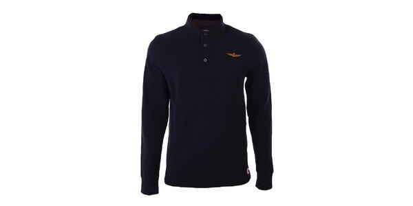 Pánske čierne polo tričko s dlhými rukávmi Aeronautica Militare