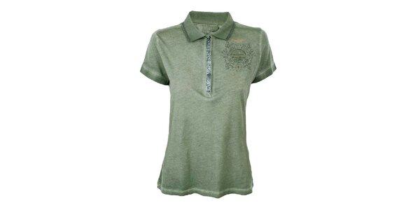 Dámske khaki polo tričko s flitrami Aeronautica Militare