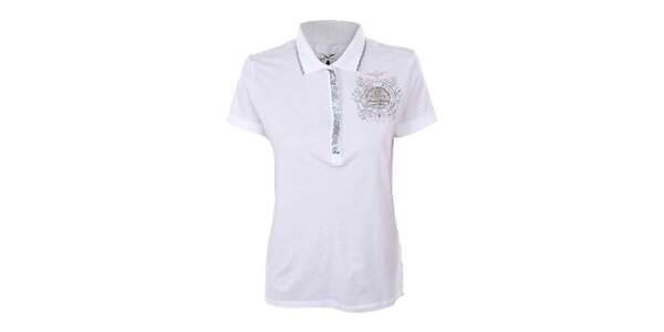 Dámske biele polo tričko s flitrami Aeronautica Militare