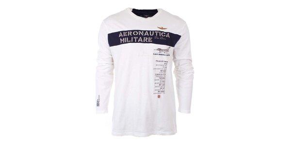 Pánske biele tričko s nápisom Aeronautica Militare