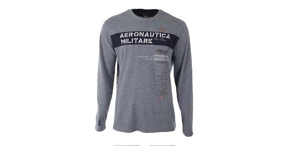 Pánske šedé tričko s nápisom Aeronautica Militare