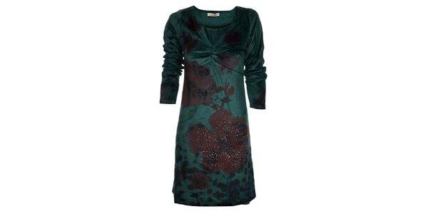 Dámske smaragdové šaty Snake Milano s vlčími makmi