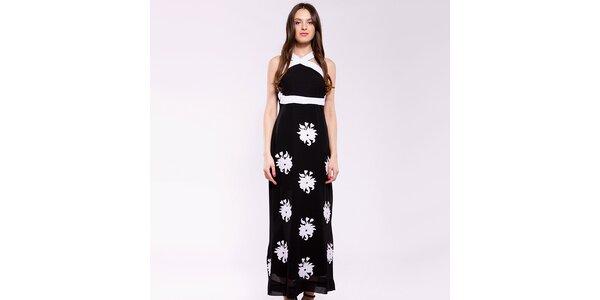 Dámske čierno-biele dlhé šaty Almatrichi s kvetinami