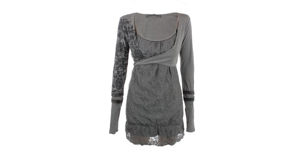 Dámske šedé čipkované šaty Angels Never Die