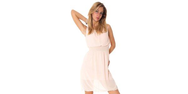 Dámske béžové šaty s ozdobným pásom Bella Rosa
