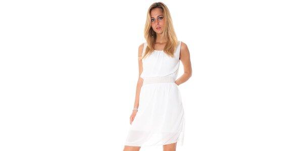 Dámske biele šaty s ozdobným pásom Bella Rosa