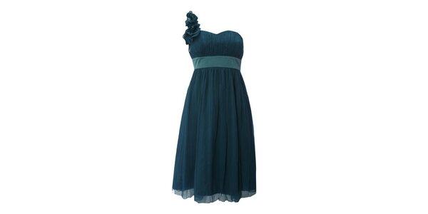 Dámske tmavo zelené šaty s šifónovou aplikáciou na ramene Fever