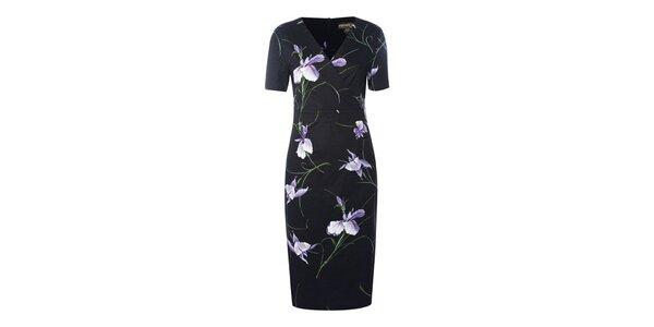 Dámske čierne púzdrové šaty Fever s kvetmi