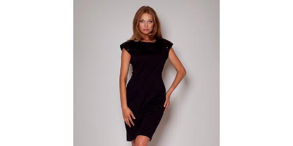 ee358fcb408b Dámske čierne púzdrové šaty s flitrami na ramenách Figl