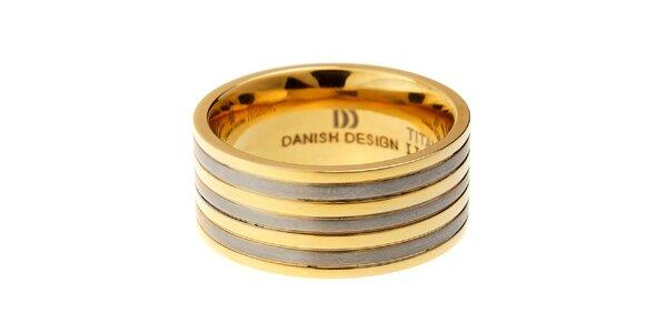 Dámsky titanový prsteň Danish Design so zlatými prúžkami