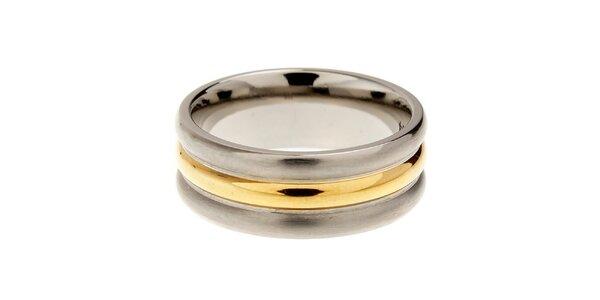 Dámsky titanový prsteň Danish Design so zlatým detailom