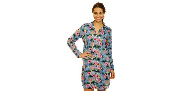 7d39485e5f40 Dámske modré košeľové šaty Nice Things s plameniakmi a palmami