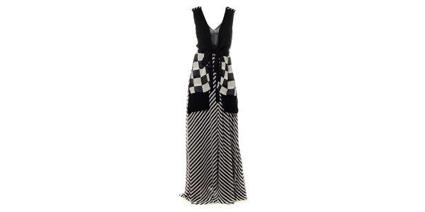 Dámske čierno-biele maxi šaty so šachovnicovými cípmi Via Bellucci