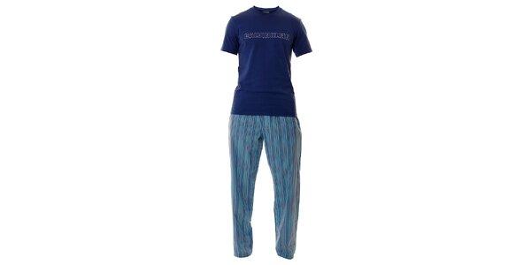 Pánske svetlo modré pyžamo Calvin Klein s dlhými nohavicami