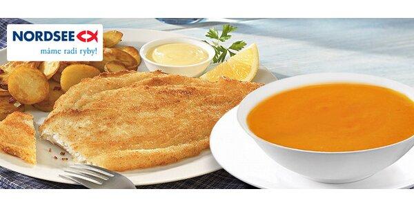 Grilovaný stredomorský platýz s prílohou a polievkou