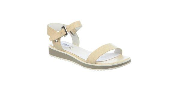 Dámske béžové sandále s koženou stielkou Keddo