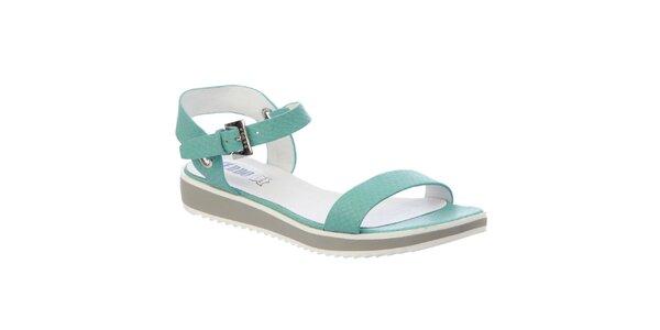 Dámske mentolové sandále s koženou stielkou Keddo