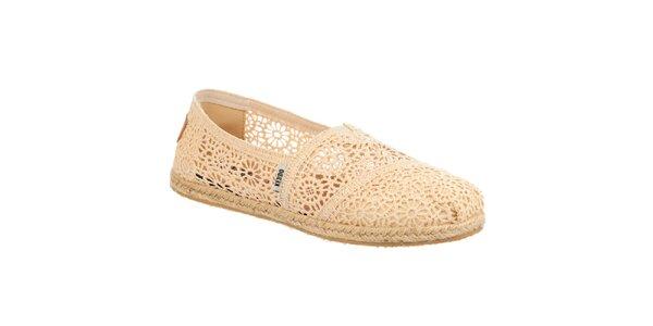 Dámske čipkované béžové topánočky Keddo