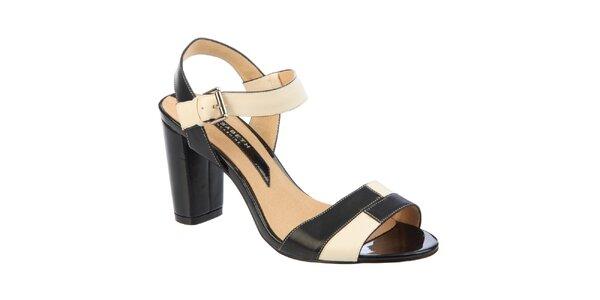 Dámske čierno-krémové sandálky Elisabeth s opätkom