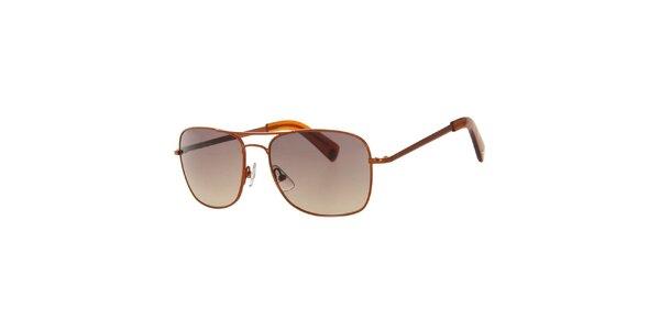 Pánske hranaté hnedé slnečné okuliare Calvin Klein